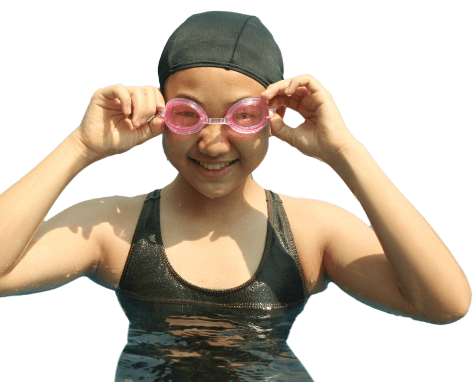 Girl is swimming