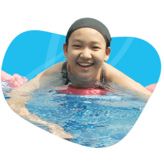 Girl is happily swimming